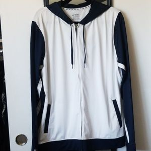 Asics White/Blue Zip Up-2XL